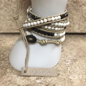 Chan Luu beaded leather five wrap bracelet NWT